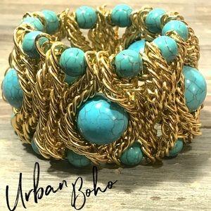 Gold turquoise chunky stretch bracelet statement